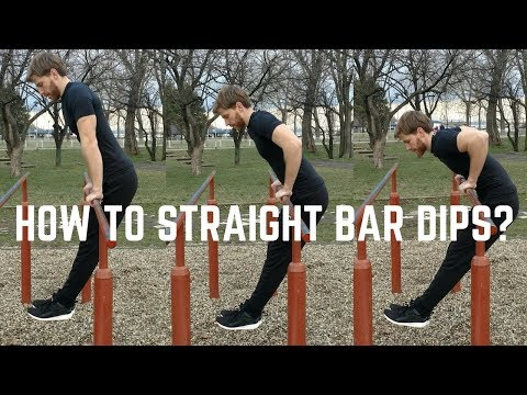 How to straight bar dips?   Straight bar dips tutorial
