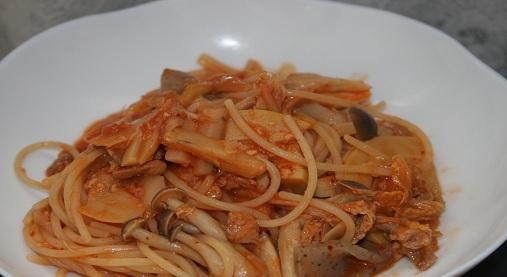たけのこの煮物を使ったトマトスパゲティー