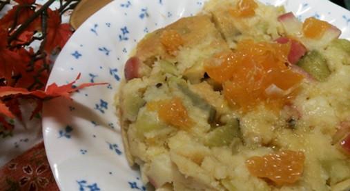 ホットケーキミックスで超~手軽!?サツマイモとリンゴの蒸しケーキ!5
