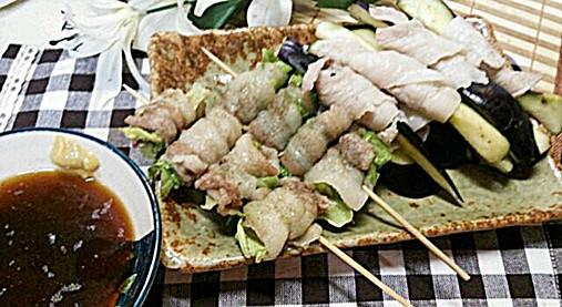 豚肉&野菜(きゃべつ・なす)の串ロール!?簡単おつまみの作り方!13