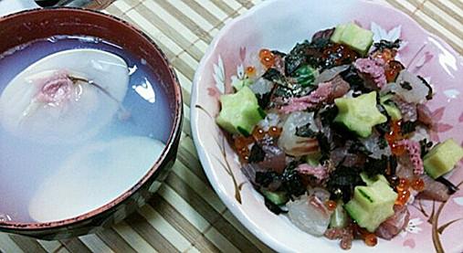 ひな祭り~お祝い海鮮ちらしレシピ!?はまぐりのお吸い物を添えて!