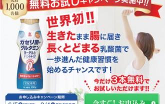 3本無料お試しキャンペーン!?恵・ガセリ菌+グルタミン飲むヨーグルト!3