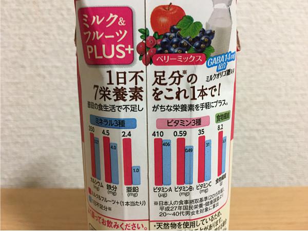 ミルク&フルーツPLUS+1日不足分のビタミン・ミネラル食物繊維ベリーミックス4
