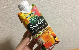 カゴメ野菜生活100スムージー「マンゴーピーチMix」とろっと甘酸っぱくて心地よいおいしさ!