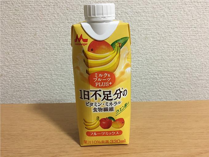 森永ミルク&フルーツPLUS+フルーツミックス1日不足分のビタミン・ミネラル・食物繊維が摂れる!5
