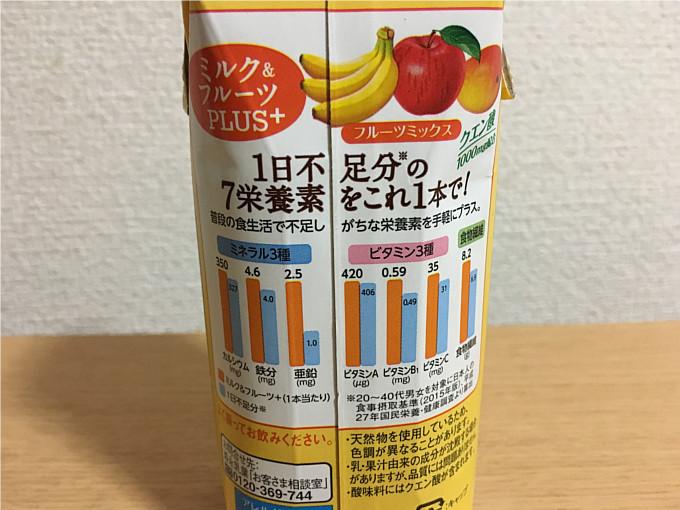 森永ミルク&フルーツPLUS+フルーツミックス1日不足分のビタミン・ミネラル・食物繊維が摂れる!4